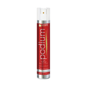 Podium red dry hold hairspray, orange color can.