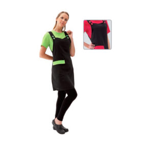 Artero apron black with green trip, also shows pink for animal grooming