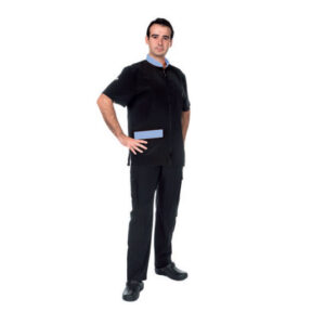 Blue trim black shirt made for pet grooming, for males