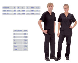 Black shirt trousers for animal grooming in Anchorage Alaska.