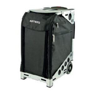 Trolley for animal grooming in alaska, black color with gray trim.