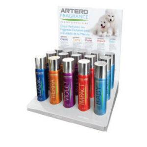 Artero perfume display for Anchorage Alaska animal grooming.